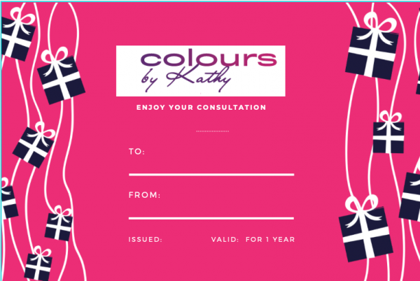 Colours by Kathy: Enjoy your Consultation Gift Voucher (back)