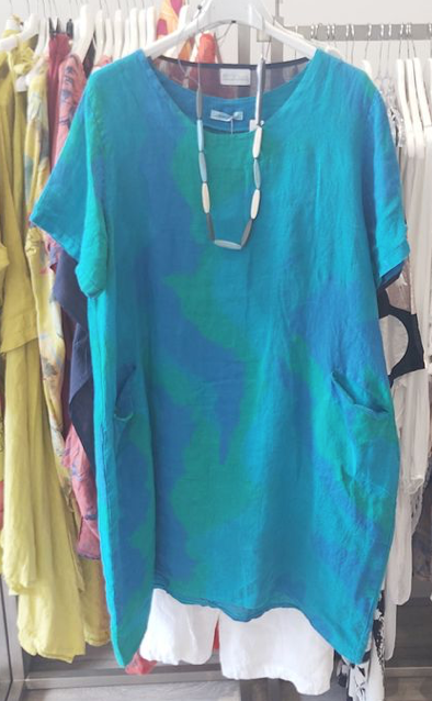 Picture of long blue top on hanger
